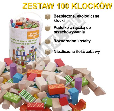Set of 100 wooden blocks for children ECOTOYS