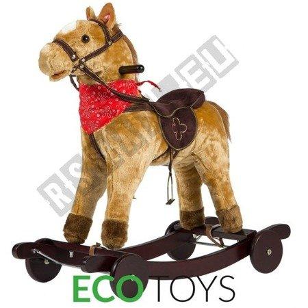 Interaktywny koń na biegunach jeździk brązowy