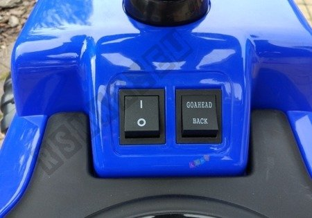 Vehicle battery with pusher blue