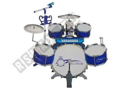 Drums Set with Keyboard Microphone and Chair Blue 5 drums