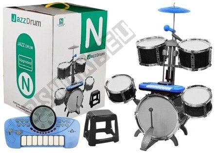Drums Set with Keyboard and Microphone with Chair Blue