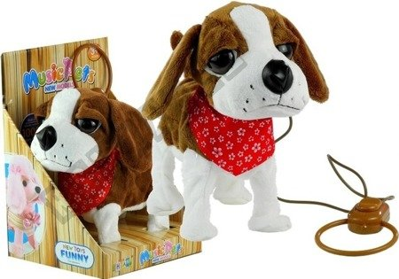 Interactive Dog On a Lead with Head-Scarf Moves Tail Sings