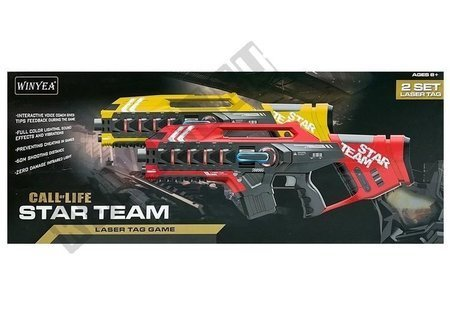 Laser Tag Rifle Set 4 Teams 2 Colors Red Yellow