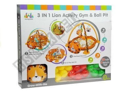 Lion shaped mat + 4 hanging toys + 30 colourful balls