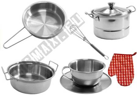Set of Stainless Steel Pots for Children 23 elements