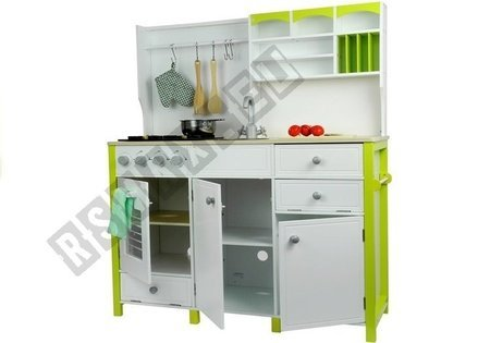 Wooden Kitchen with an Oven and Accessories Green-White