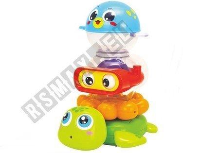 Badespielzeug Krake Schildkröte Fisch 3 bunte Wassertiere Set für Kinder Baby