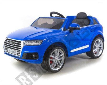 Kinderauto AUDI Q7 SUV Elektroauto Kinderfahrzeug 12V Ledersitz Radio ! Neu 2018 blau