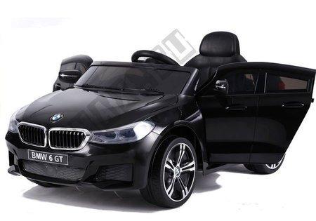 Kinderauto BMW 6 GT Schwarz Ledersitz EVA-Reifen Stoßdämpfer 2x12V
