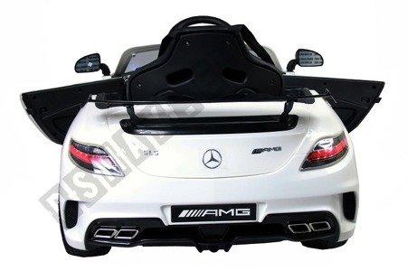 Kinderauto MERCEDES SLS AMG Elektroauto Kinderfahrzeug Ledersitz weiß
