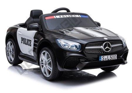 Kinderauto Mercedes SL500 Polizei Schwarz Ledersitz EVA-Reifen 2x45W