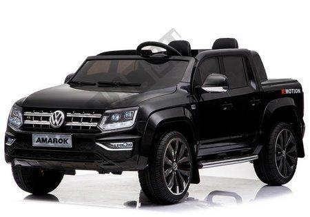 Kinderfahrzeug VW Amarok Schwarz 4x45W Ledersitz 2.4G EVA-Reifen LCD Panel