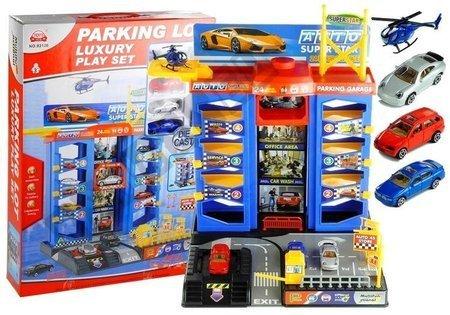 Parkhaus Garage Spielzeugauto Parkgarage Parking 3 Autos Hubschrauber Set