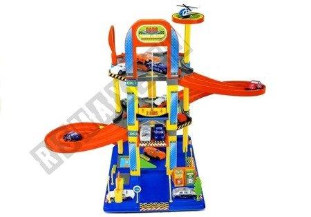 Parkplatz mit 2 Etagen 6 Autos großes Set Tankstelle Spielzeug