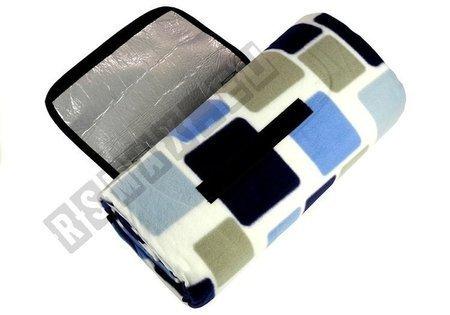 Koc piknikowy 150x200cm niebiesko-biały izolacja