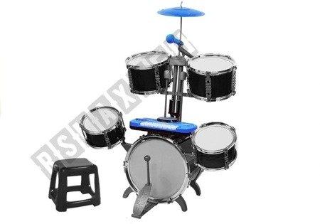 Perkusja z Keyboardem Mikrofon Krzesło 5 Bębnów Niebieska