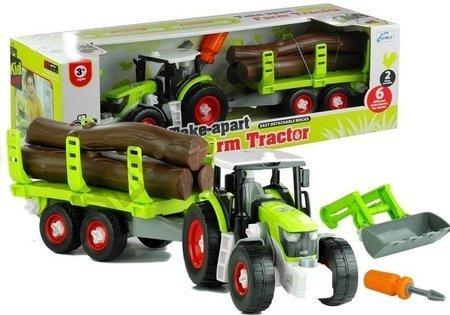 Rozkręcany Traktor z Przyczepą z Drewnem 43 cm