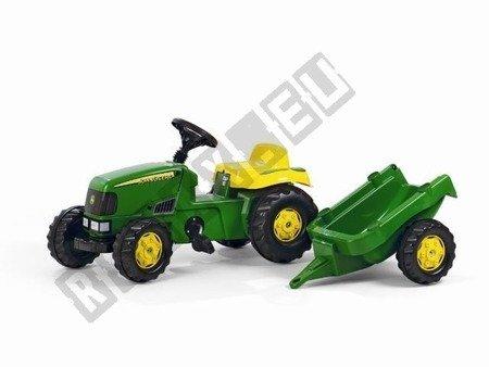 Traktor na pedały John Deere Kid przyczepa zielony