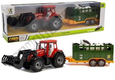 Traktor z Przyczepką i Koniem Czerwony